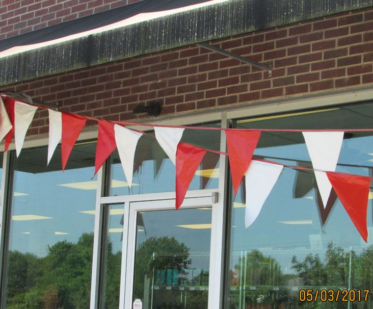 String of Pennant Flags hung at a business