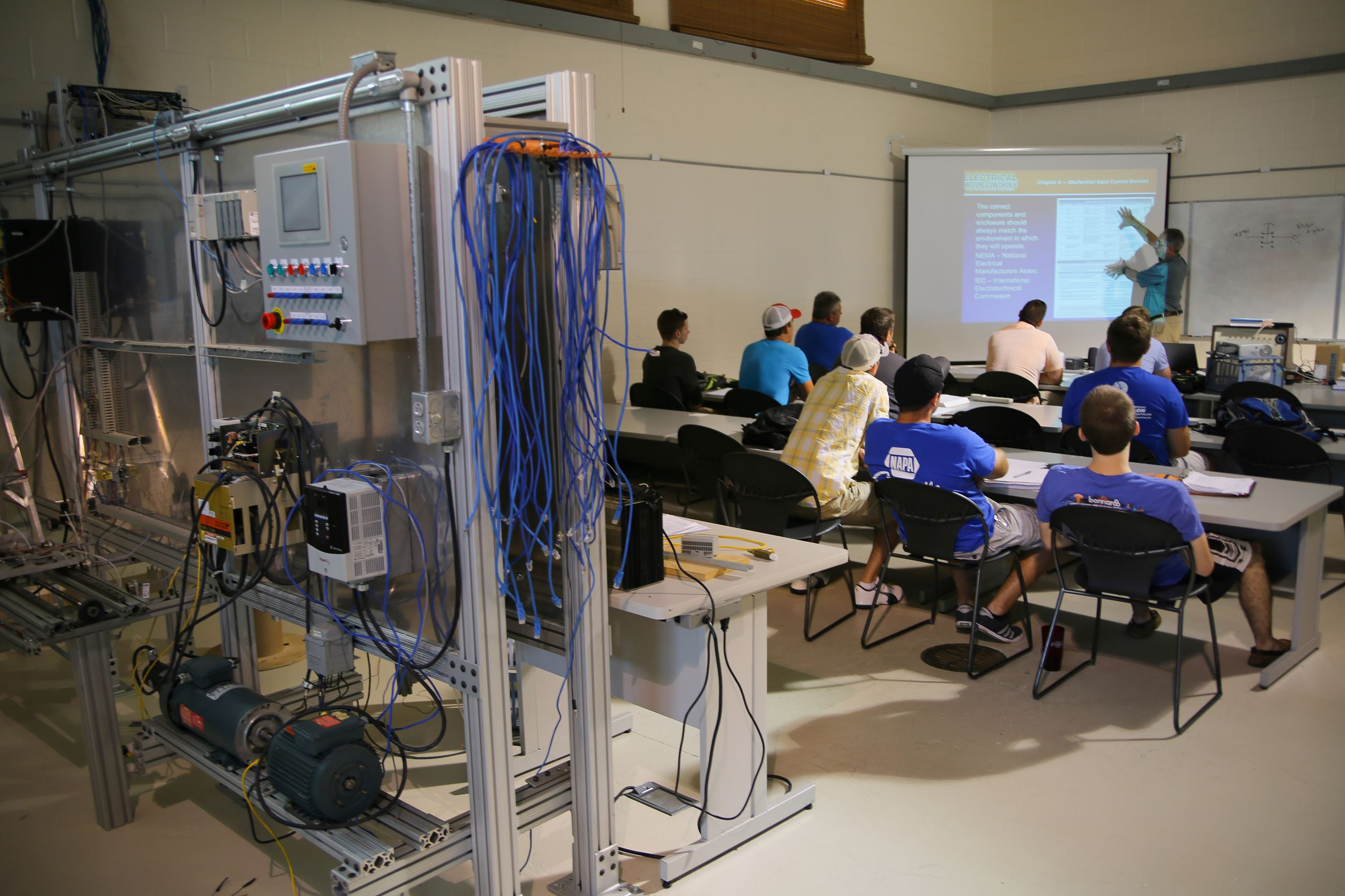 Mechatronics classroom with students