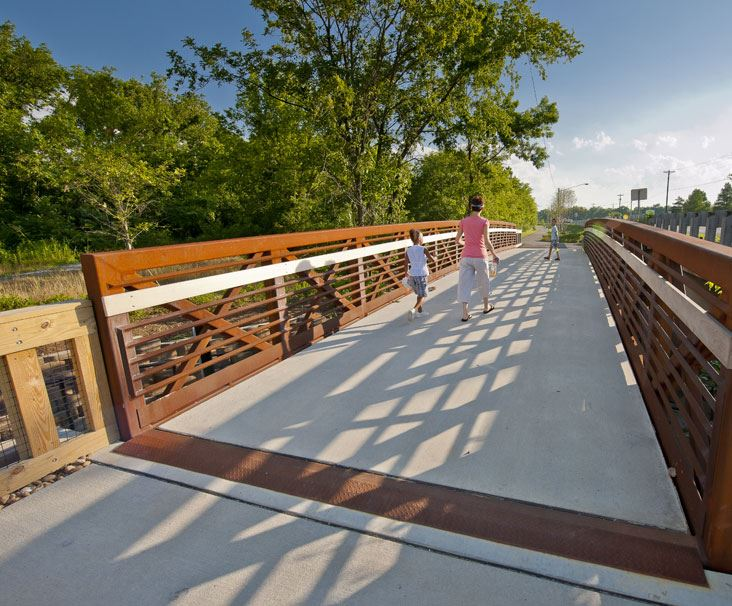 Walking on the Greenway Bridge