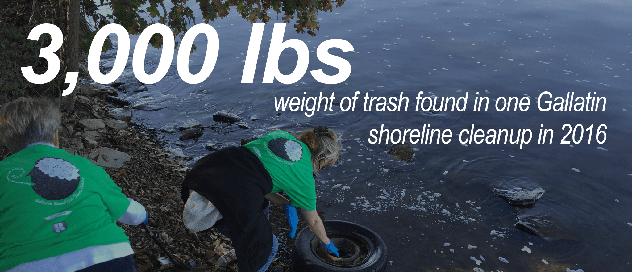 3,000 Pounds - The Weight of Trash found in 1 Gallatin Shoreline Cleanup in 2016