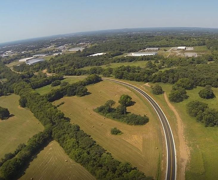 Aerial view of curved road in Gallatin Tennessee
