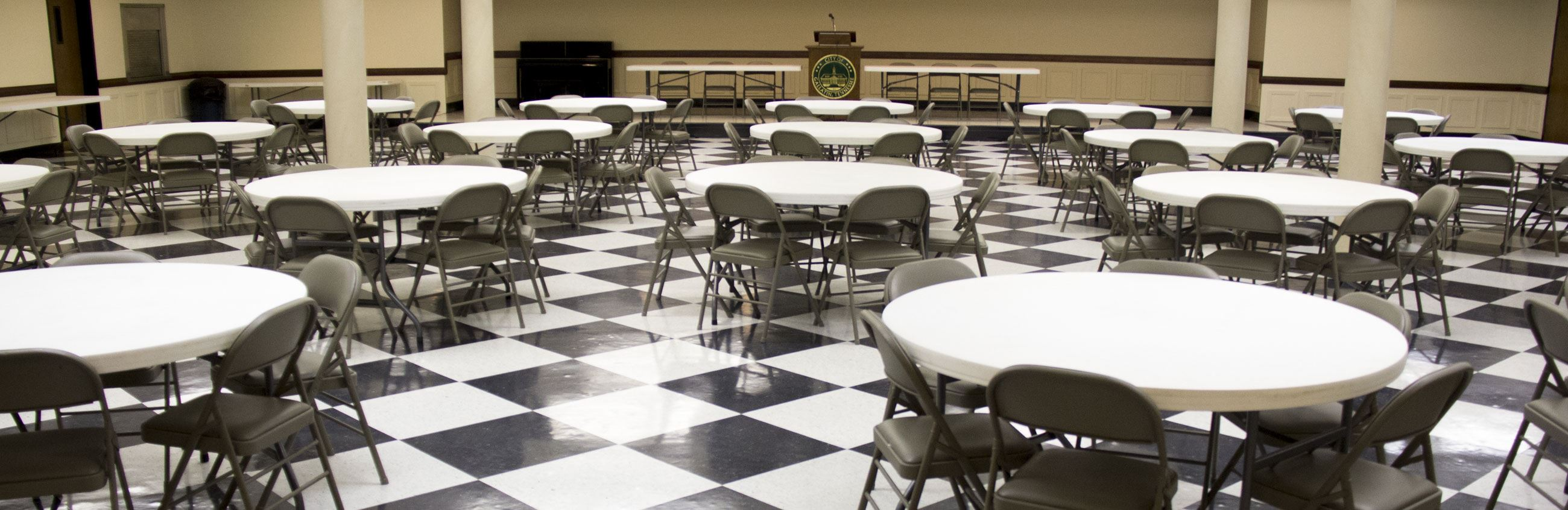 City Hall Dining Room with Checkered Floor