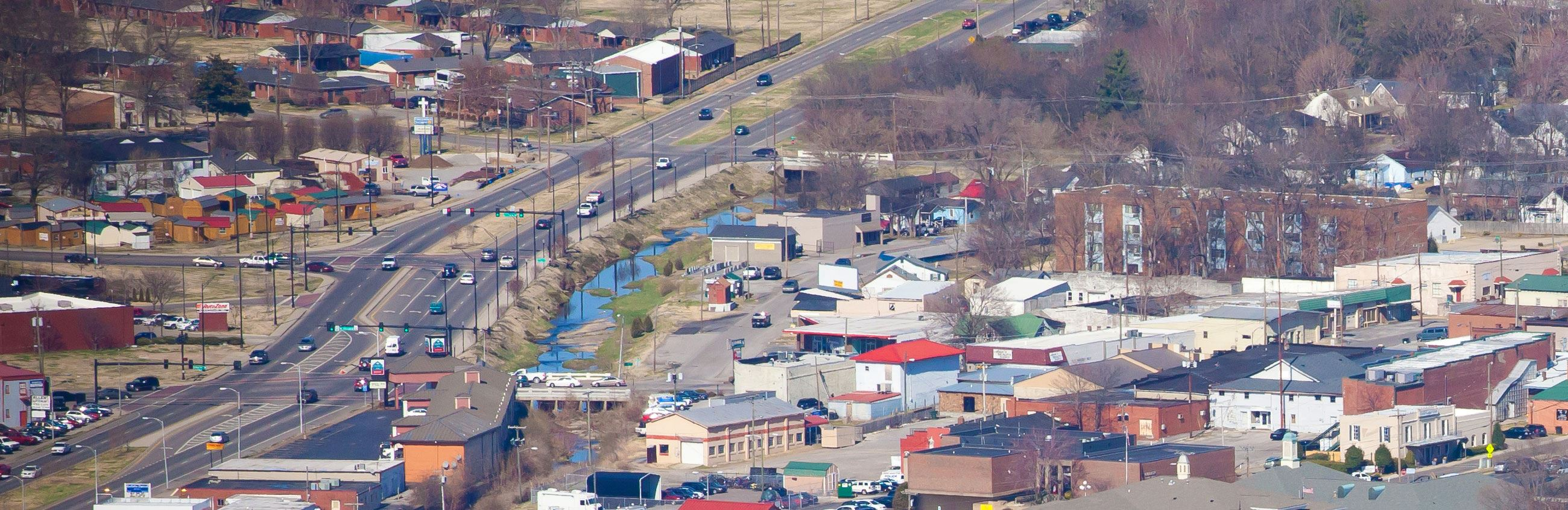 Arial photo of Downtown Gallatin