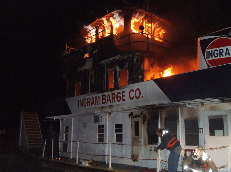 Barge on Fire