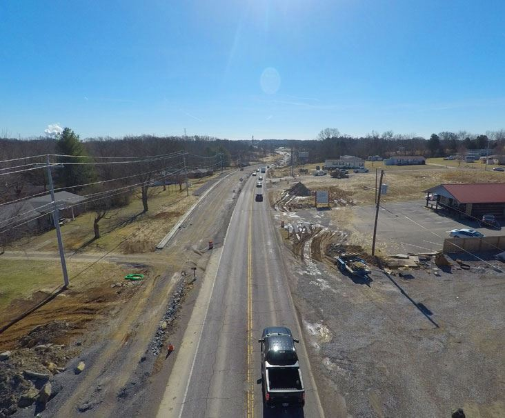 Aerial photo of construction along Highway 109
