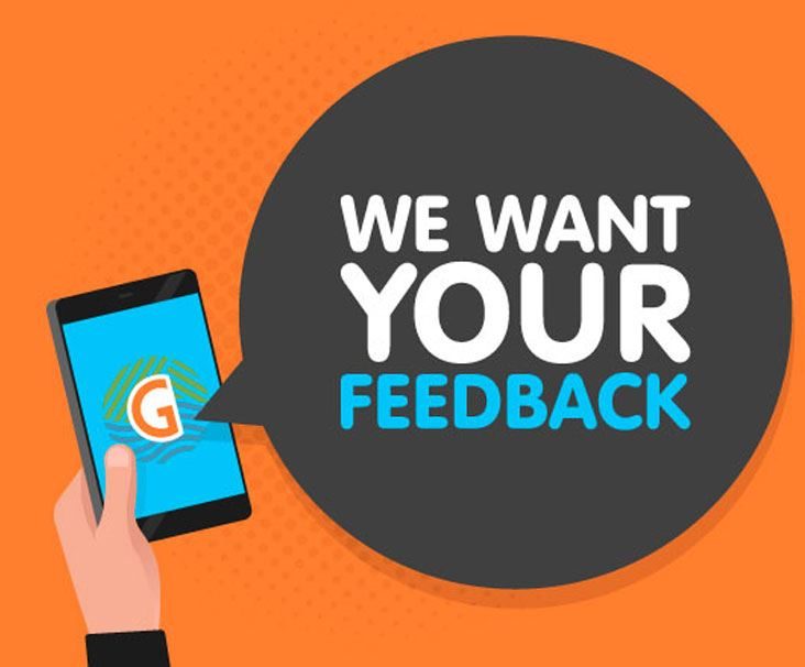 "Illustration saying ""We want your feedback"""