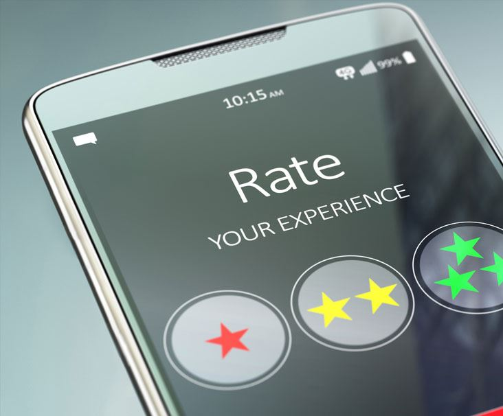Phone with graphic saying rate your experience