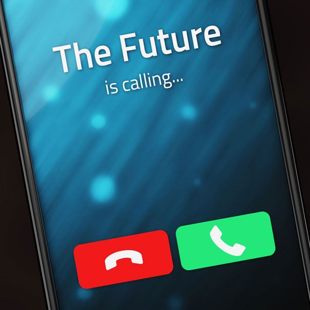 Smart phone with a call from the future