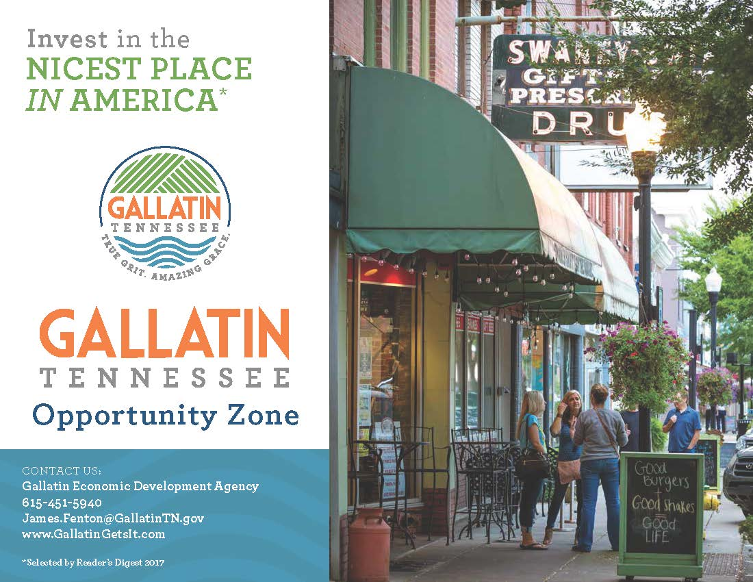 Cover of Gallatin Opportunity Zone Prospectus with picture of downtown