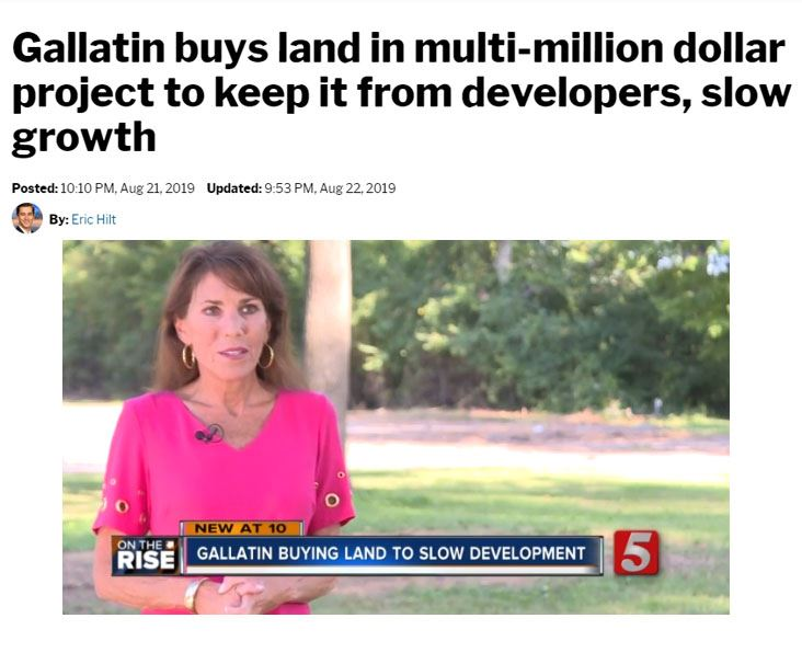 Newschannel 5 video capture on Gallatin land-purchase for parks