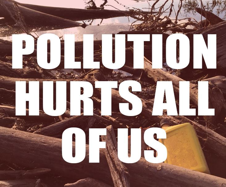 Pollution hurts all of us over photo of Old Hickory Lake trash