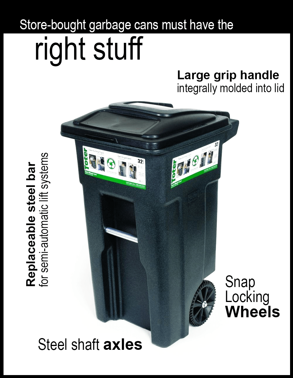 Store bought cans must have large grip handle, snap locking wheels, axles, and steel bar, image of g
