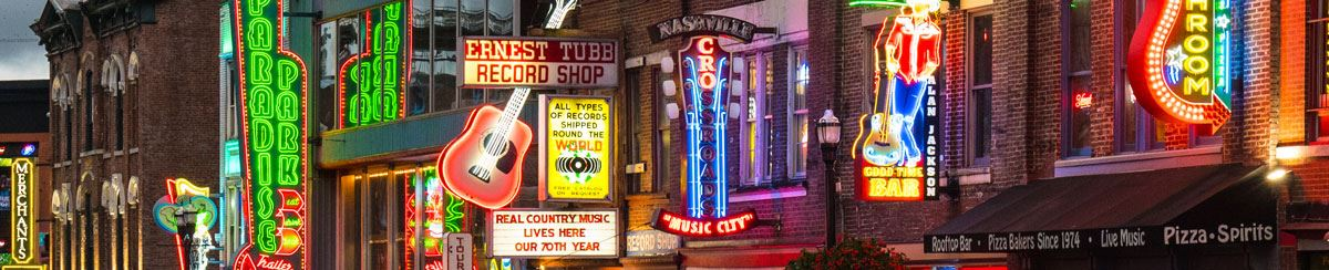 Illuminated signs of downtown Nashville