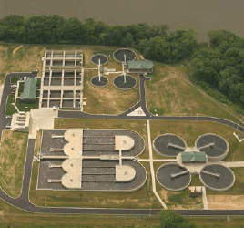 Aerial image of water treatment facility