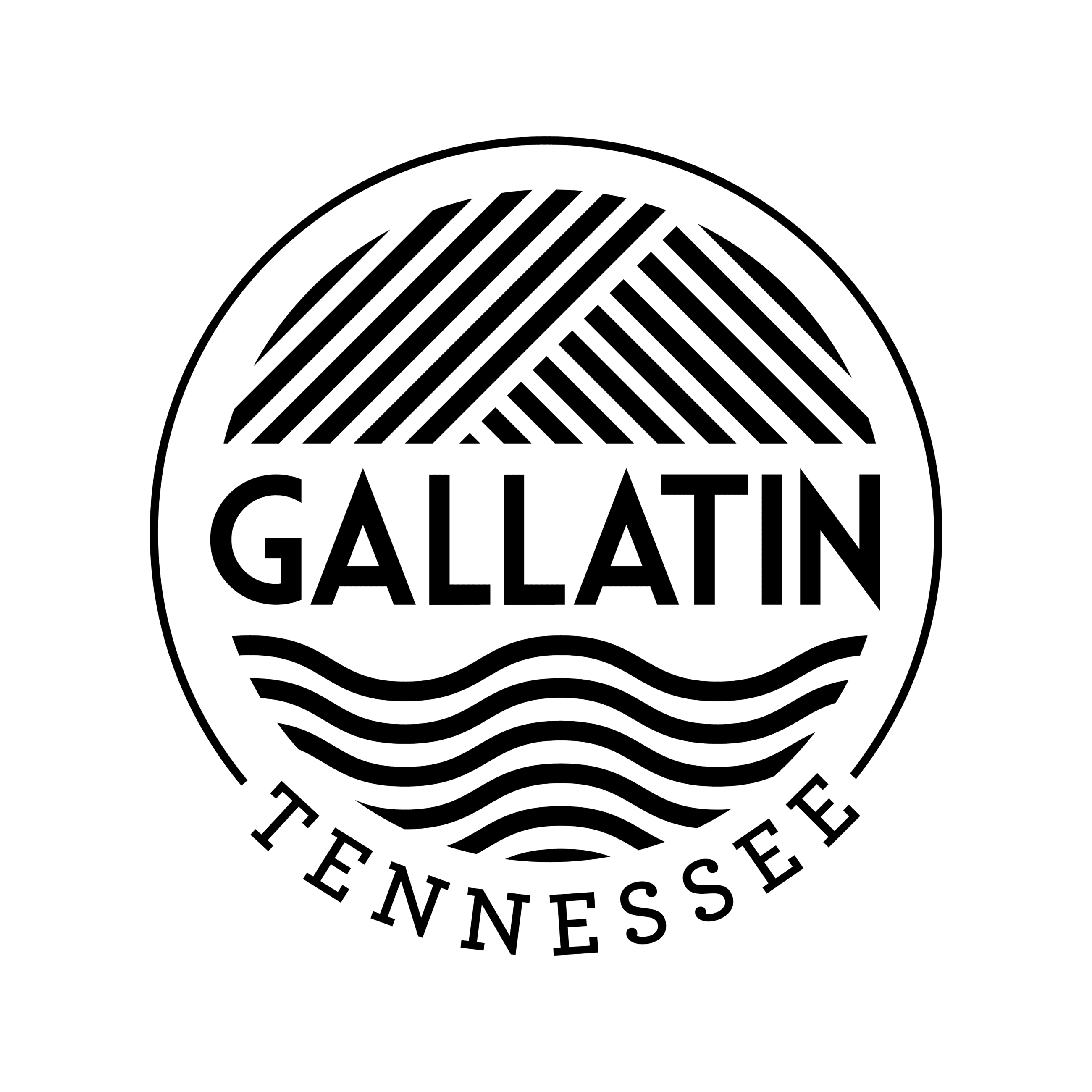 Gallatin Black and White Logo with Tennessee