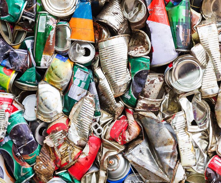 aluminum and tin cans ready for recycling