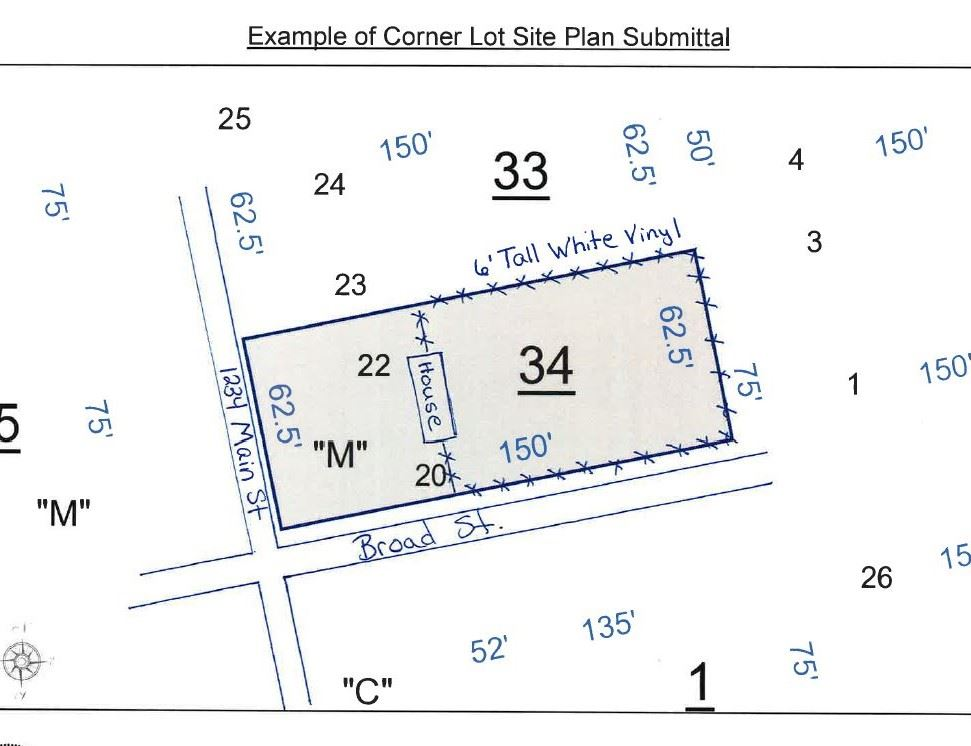 Example Corner Lot Site Plan Submittal
