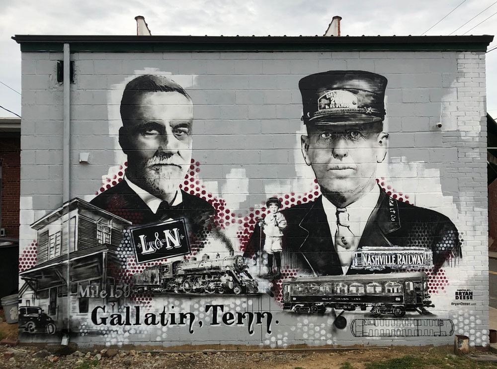 Train mural of downtown Gallatin, Tennessee